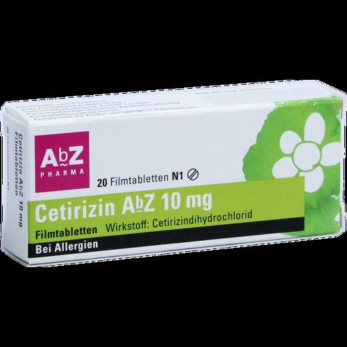 Verpackungsbild(Packshot) von CETIRIZIN AbZ 10 mg Filmtabletten