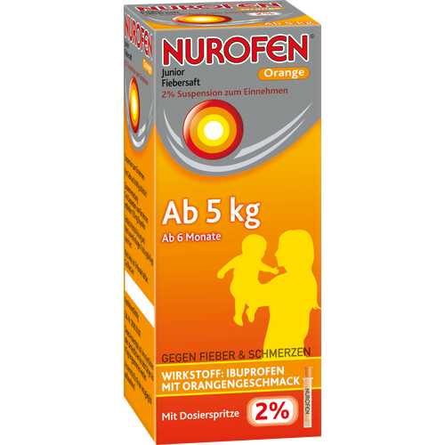 Verpackungsbild(Packshot) von NUROFEN Junior Fiebersaft Orange 2%