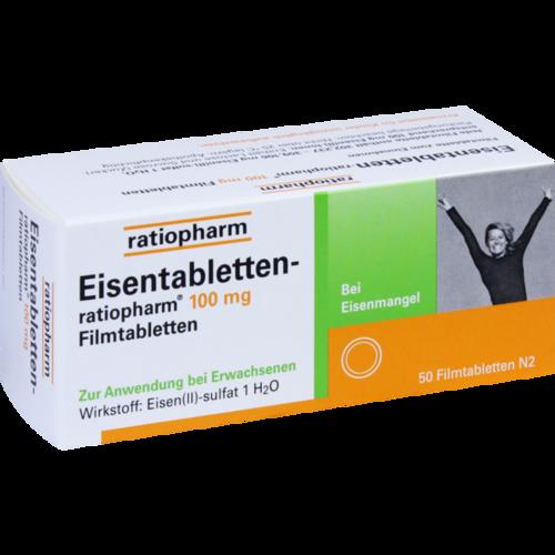 Verpackungsbild(Packshot) von EISENTABLETTEN-ratiopharm 100 mg Filmtabletten