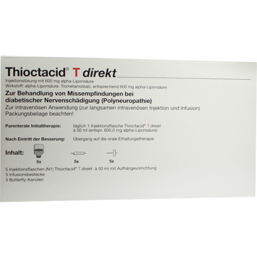 Verpackungsbild(Packshot) von THIOCTACID T Direkt + Zubehör Injektionslösung