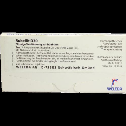 Verpackungsbild(Packshot) von RUBELLIT D 30 Ampullen