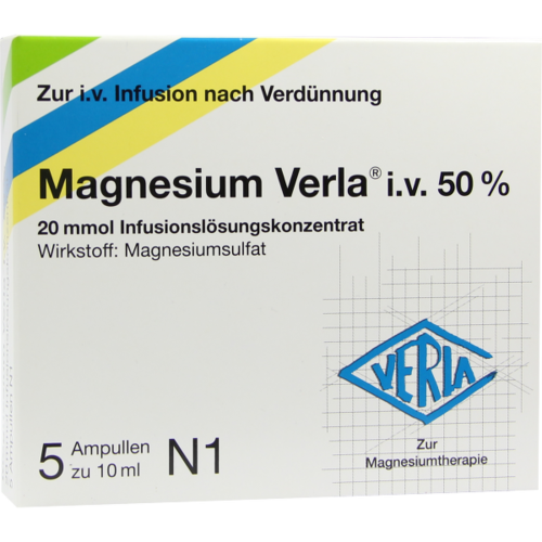 Verpackungsbild(Packshot) von MAGNESIUM VERLA i.v. 50% Infus.-Lsg.