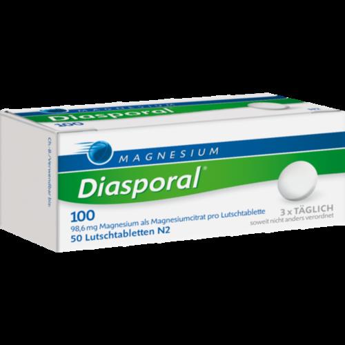 Verpackungsbild(Packshot) von MAGNESIUM DIASPORAL 100 Lutschtabletten