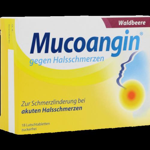 Verpackungsbild(Packshot) von MUCOANGIN Waldbeere 20 mg Lutschtabletten