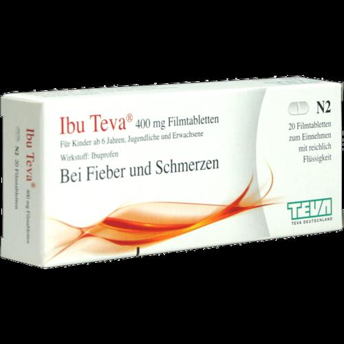 Verpackungsbild(Packshot) von IBU TEVA 400 mg Filmtabletten