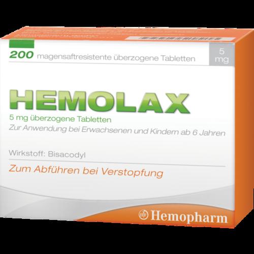 Verpackungsbild(Packshot) von HEMOLAX 5mg magensaftresis. überzogene Tabletten
