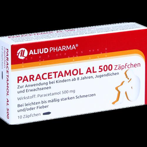 Verpackungsbild(Packshot) von PARACETAMOL AL 500 Suppositorien