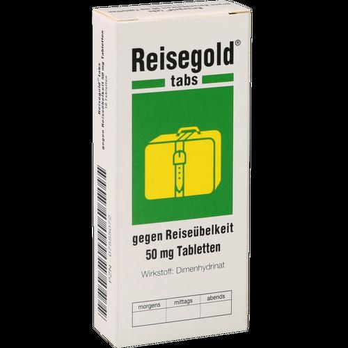 Verpackungsbild(Packshot) von REISEGOLD Tabs gegen Reiseübelkeit