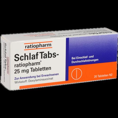 Verpackungsbild(Packshot) von SCHLAF TABS-ratiopharm 25 mg Tabletten