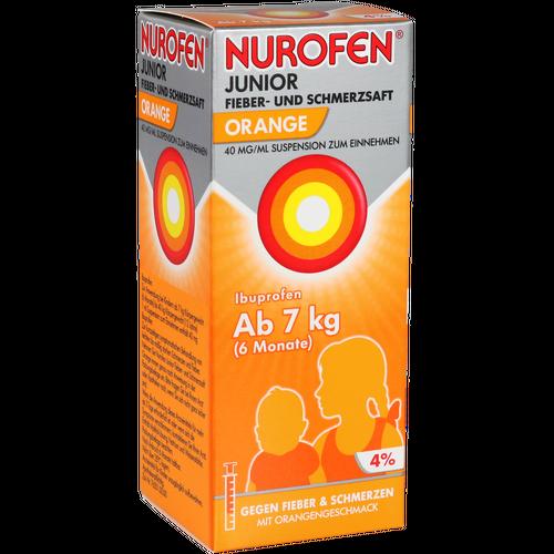 Verpackungsbild(Packshot) von NUROFEN Junior Fieber-u.Schmerzsaft Oran.40 mg/ml