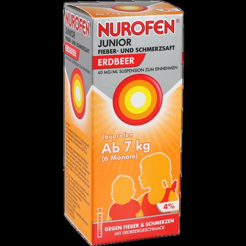 Verpackungsbild(Packshot) von NUROFEN Junior Fieber-u.Schmerzsaft Erdbe.40 mg/ml