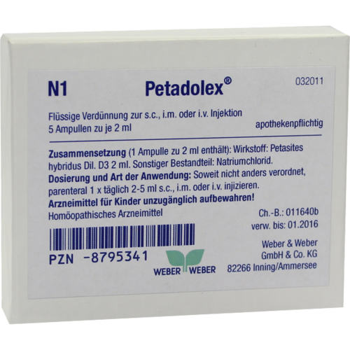 Verpackungsbild(Packshot) von PETADOLEX Ampullen