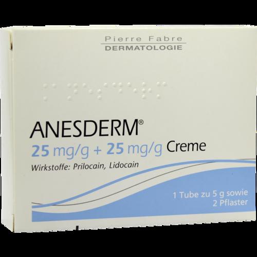 Verpackungsbild(Packshot) von ANESDERM 25 mg/g + 25 mg/g Creme + 2 Pflaster
