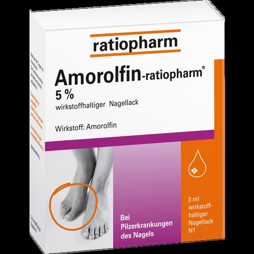 Verpackungsbild(Packshot) von AMOROLFIN-ratiopharm 5% wirkstoffhalt.Nagellack
