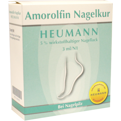 Verpackungsbild(Packshot) von AMOROLFIN Nagelkur Heumann 5% wst.halt.Nagellack