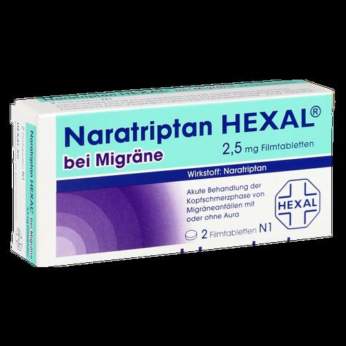 Verpackungsbild(Packshot) von NARATRIPTAN HEXAL bei Migräne 2,5 mg Filmtabletten