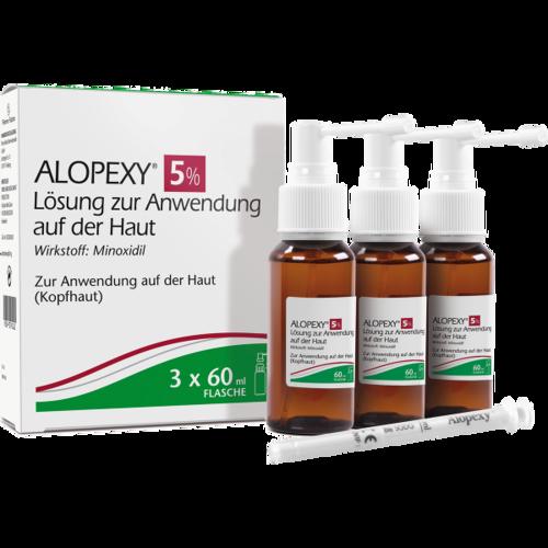 Verpackungsbild(Packshot) von ALOPEXY 5% Lösung zur Anwendung auf der Haut