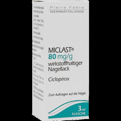 Verpackungsbild(Packshot) von MICLAST 80 mg/g wirkstoffhaltiger Nagellack