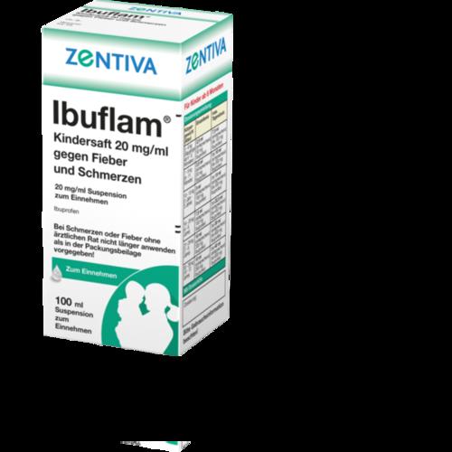 Verpackungsbild(Packshot) von IBUFLAM Kindersaft 20mg/ml gegen Fieber u.Schmerz.