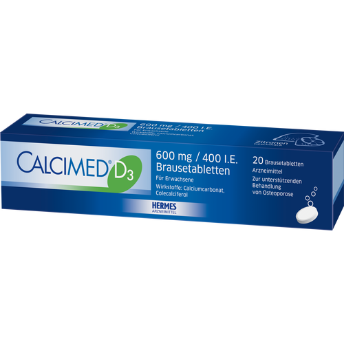 Verpackungsbild(Packshot) von CALCIMED D3 600 mg/400 I.E. Brausetabletten