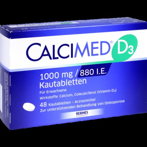Verpackungsbild(Packshot) von CALCIMED D3 1000 mg/880 I.E. Kautabletten