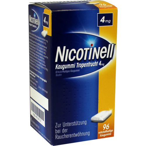 Verpackungsbild(Packshot) von NICOTINELL Kaugummi Tropenfrucht 4 mg