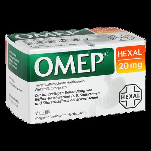 Verpackungsbild(Packshot) von OMEP HEXAL 20 mg magensaftresistente Hartkapseln