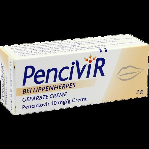 Verpackungsbild(Packshot) von PENCIVIR bei Lippenherpes gefärbte Creme