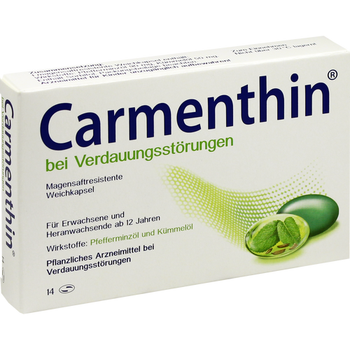 Verpackungsbild(Packshot) von CARMENTHIN bei Verdauungsstörungen msr.Weichkaps.