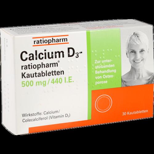 Verpackungsbild(Packshot) von CALCIUM D3-ratiopharm Kautabletten