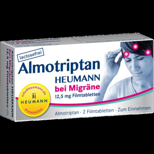 Verpackungsbild(Packshot) von ALMOTRIPTAN Heumann bei Migräne 12,5 mg Filmtabl.