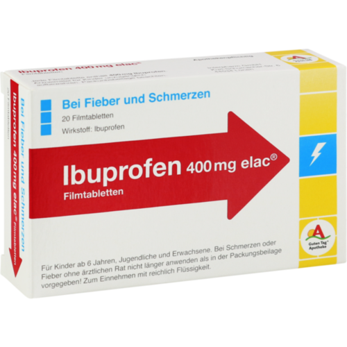 Verpackungsbild(Packshot) von IBUPROFEN 400 mg elac Filmtabletten