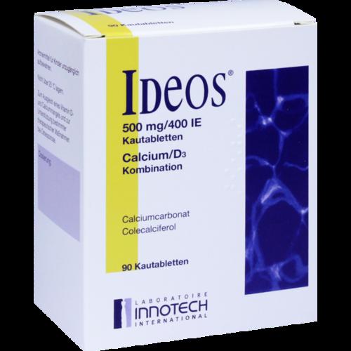 Verpackungsbild(Packshot) von IDEOS 500 mg/400 I.E. Kautabletten