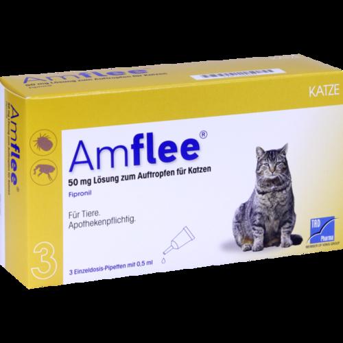 Verpackungsbild(Packshot) von AMFLEE 50 mg Spot-on Lösung z.Auftropfen f.Katzen