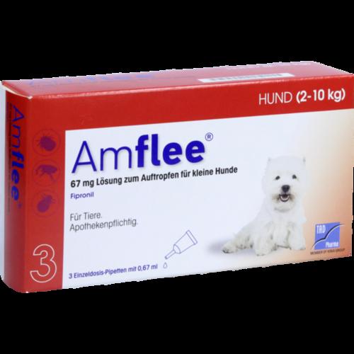 Verpackungsbild(Packshot) von AMFLEE 67 mg Spot-on Lsg.f.kleine Hunde 2-10kg