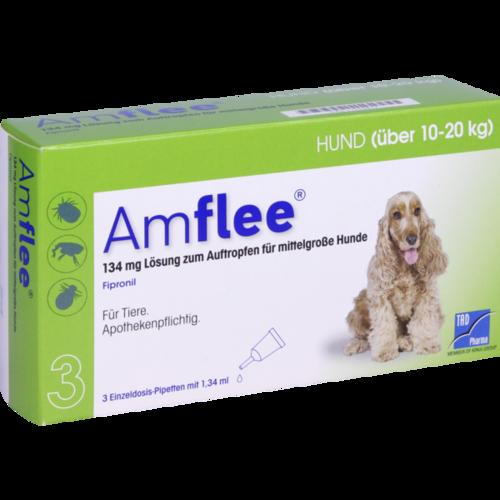 Verpackungsbild(Packshot) von AMFLEE 134 mg Spot-on Lsg.f.mittelgr.Hunde 10-20kg