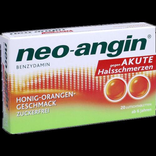 Verpackungsbild(Packshot) von NEO-ANGIN Benzydamin akute Halsschmerz.Honig-Oran.
