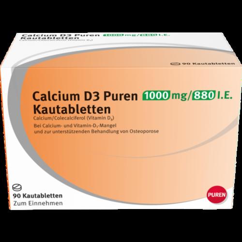 Verpackungsbild(Packshot) von CALCIUM D3 Puren 1000 mg/880 I.E. Kautabletten