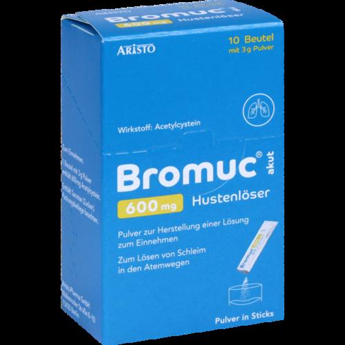 Verpackungsbild(Packshot) von BROMUC akut 600 mg Hustenlöser Plv.z.H.e.L.z.Einn.