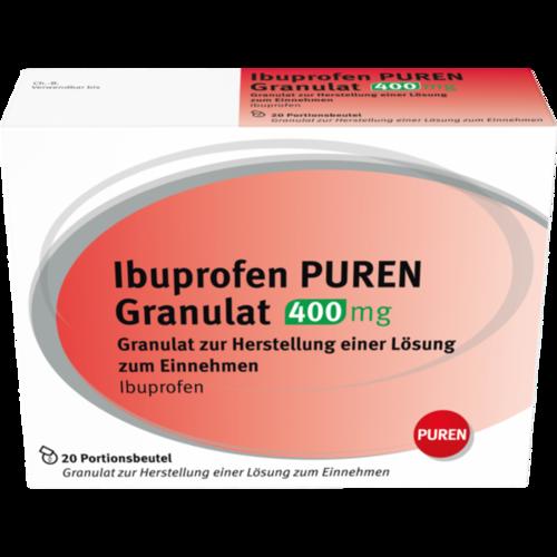 Verpackungsbild(Packshot) von IBUPROFEN PUREN Granulat 400 mg z.Her.e.Lsg.z.Ein.