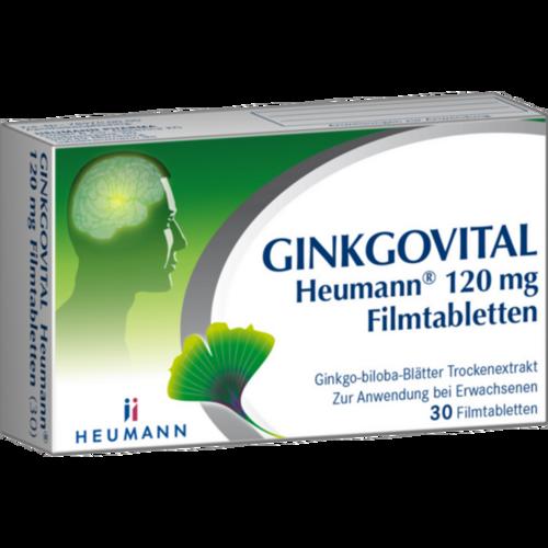 Verpackungsbild(Packshot) von GINKGOVITAL Heumann 120 mg Filmtabletten