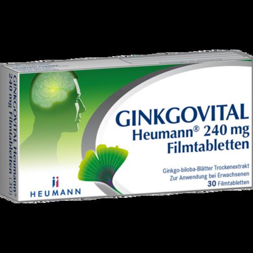 Verpackungsbild(Packshot) von GINKGOVITAL Heumann 240 mg Filmtabletten