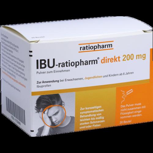Verpackungsbild(Packshot) von IBU-RATIOPHARM direkt 200 mg Pulver zum Einnehmen