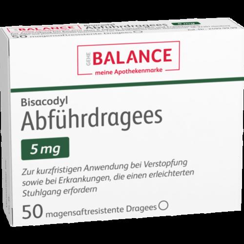 Verpackungsbild(Packshot) von BISACODYL Abführdragees 5 mg BALANCE