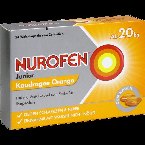 Verpackungsbild(Packshot) von NUROFEN Junior Kaudragee Orange 100 mg