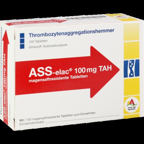 Verpackungsbild(Packshot) von ASS elac 100 mg TAH magensaftresistente Tabletten