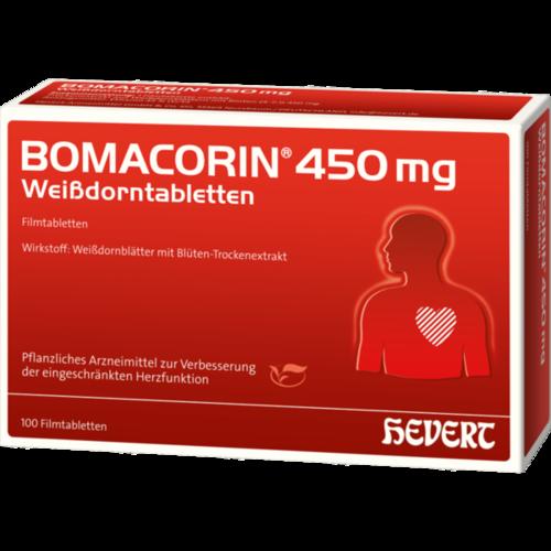 Verpackungsbild(Packshot) von BOMACORIN 450 mg Weißdorntabletten