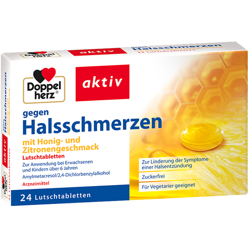 Verpackungsbild(Packshot) von DOPPELHERZ gegen Halsschmerzen Lutschtabletten