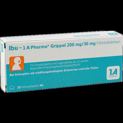 Verpackungsbild(Packshot) von IBU-1A Pharma Grippal 200 mg/30 mg Filmtabletten