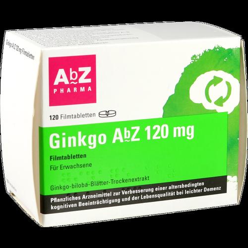 Verpackungsbild(Packshot) von GINKGO AbZ 120 mg Filmtabletten
